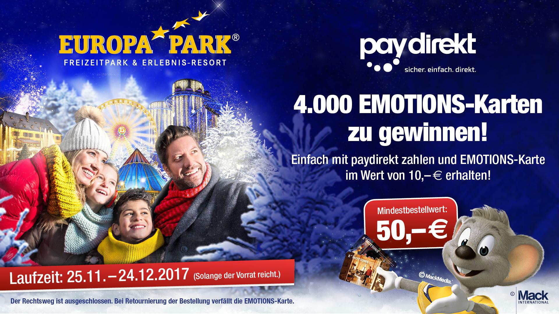 Europapark: 10€ Gutscheinkarte bei Bezahlung per paydirekt im Online-Shop