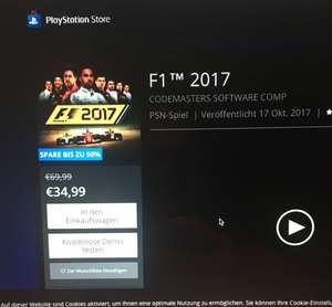 F1 2017 Für PS4 für 34,99 als Download im Playstation Store