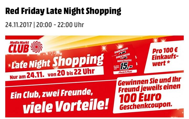 [Lokal Heidelberg Rohrbach + Mediamarkt Clubmitglied] Late Night Shopping 20-22 Uhr: zB. PS4 Pro für 254€. 15€ Direktabzug pro 100€ Einkaufswert