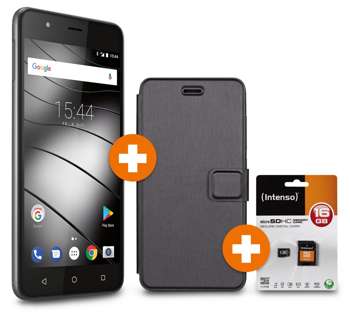 Volkssmartphone Gigaset GS270 5000-mAh + 3 monatige Versicherung + 16 GB Intenso Speicherkarte + original Gigaset Booklet-Case