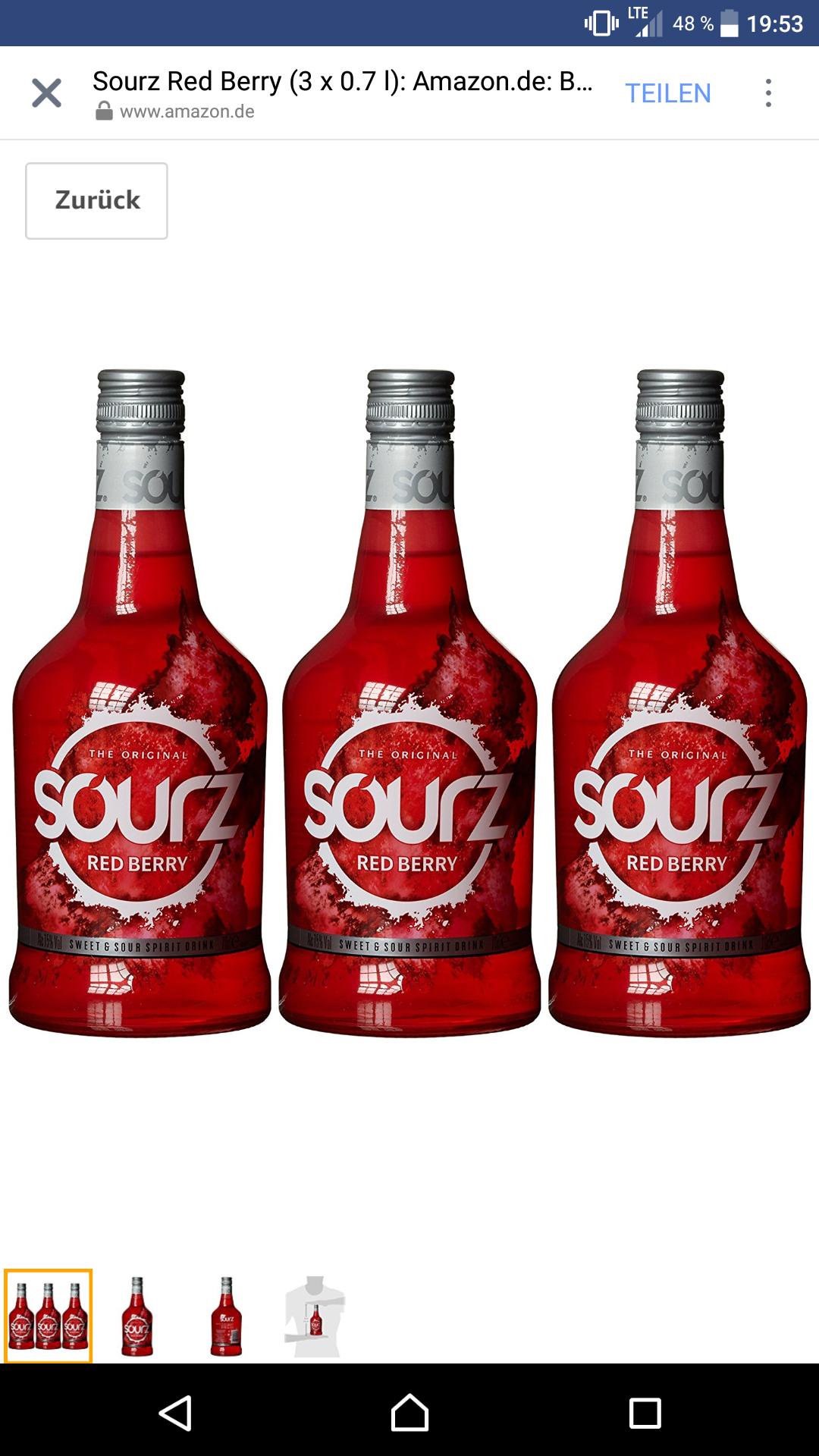 [Amazon] 3x Sourz Berry Red 0,7l 25% Günstiger