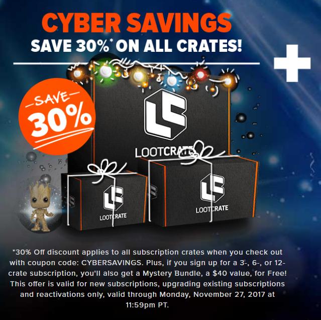 Lootcrate: 30% Rabatt auf alle Crates + Gratis Crate