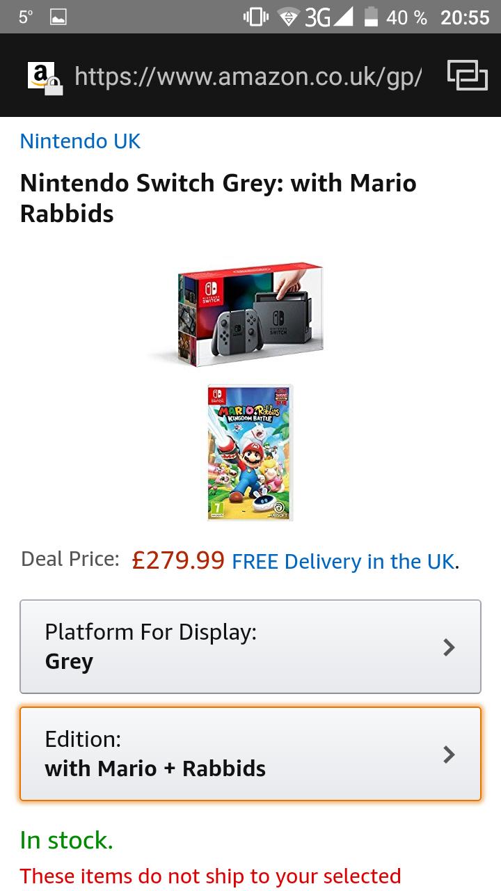 Nintendo Switch Grey plus Mario & Rabbits Game für ca. 318 Euro
