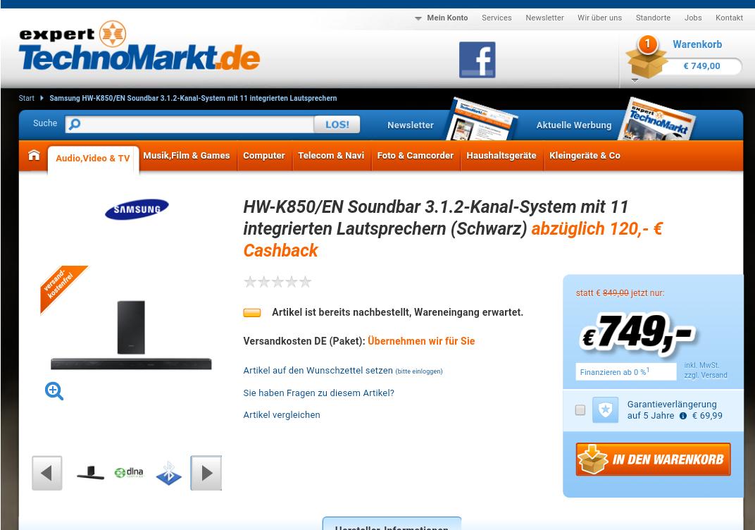 Samsung HW-K850 Soundbar nur 629,- idealo-preis 719,-