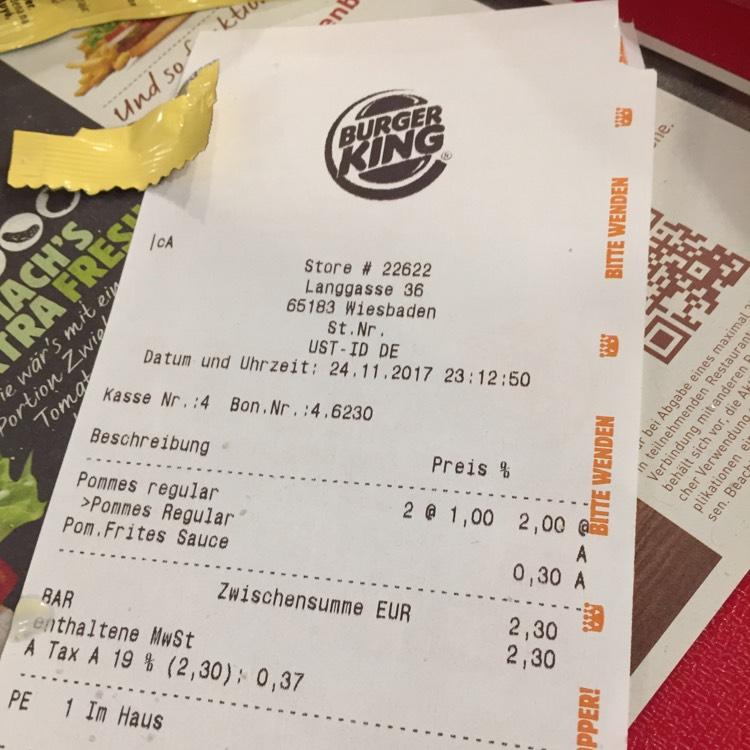 Burger King Mittlere Pommes 1 Euro