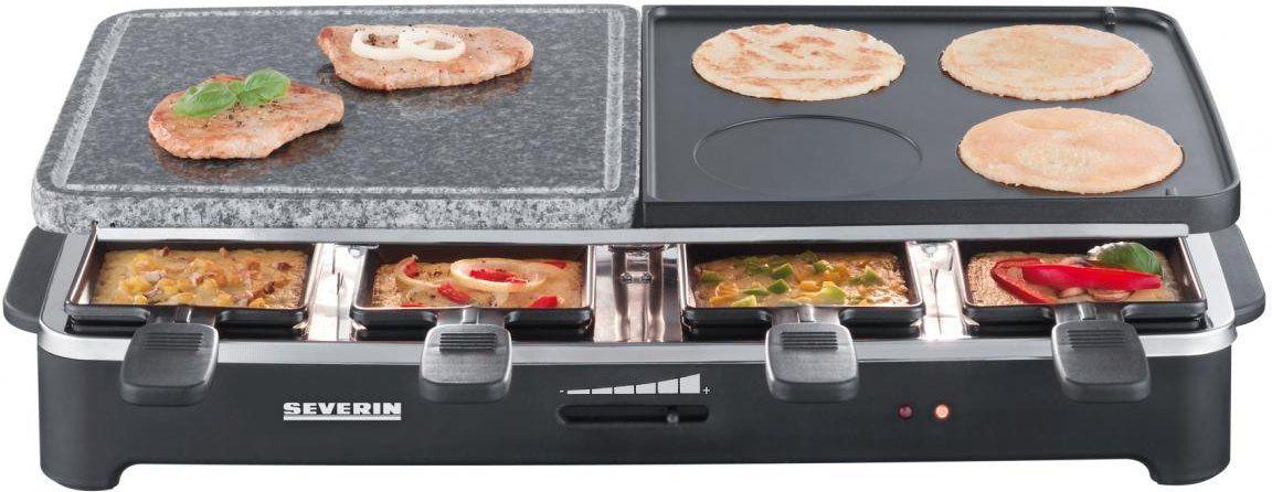 Amazon Prime Tagesangebot Severin RG 2341 Raclette-Partygrill mit Naturgrillstein (1500 W, 8 Pfännchen) schwarz