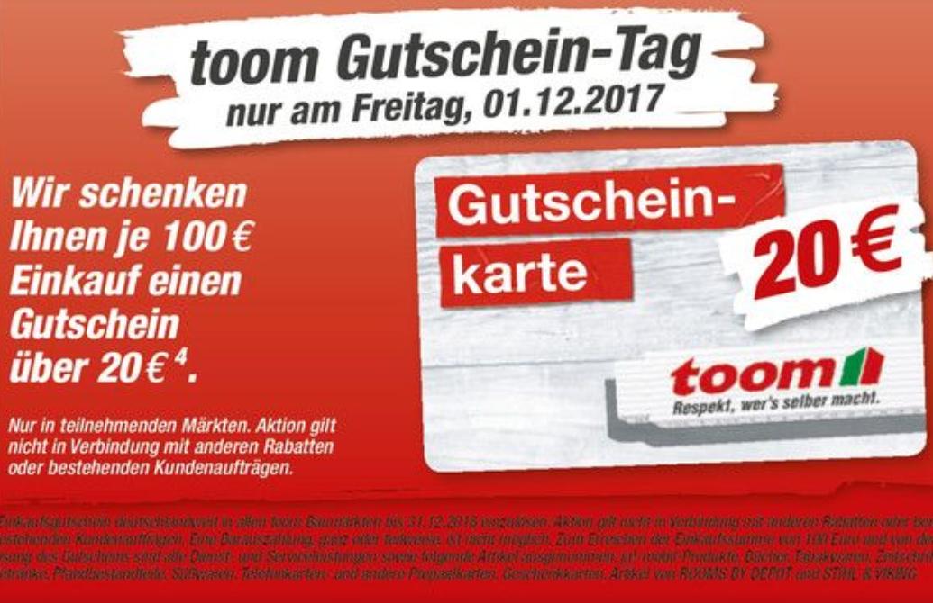 Toom 20€ Gutschein je 100€ Einkauf Bundesweit Heute bis 22 Uhr!!!