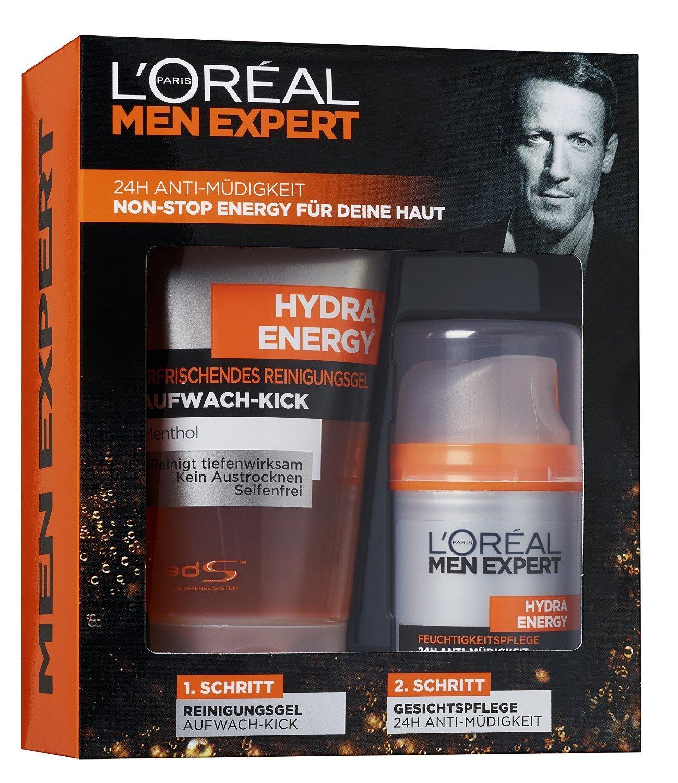 (@Amazon) L'Oreal Men Expert Geschenkset Hydra Energy - Pflegeset 24H Anti - Müdigkeit Reinigungsgel und Gesichtspflege