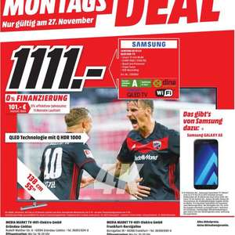 Samsung QE 55 Q 6 QLED TV + Samsung Handy Galaxy A 5 - FRANKFURT