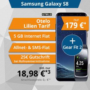 Samsung S8 + otelo allnet mit 5GB + Gearfit 2 (ohne LTE) Vertrag für die Freundin