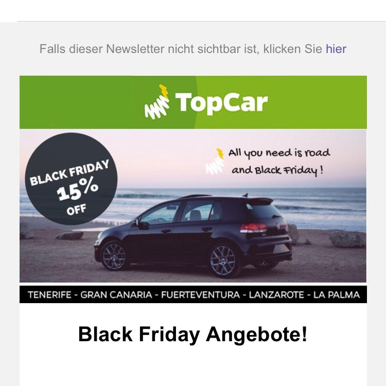 15% für Mietwagen bei TopCar
