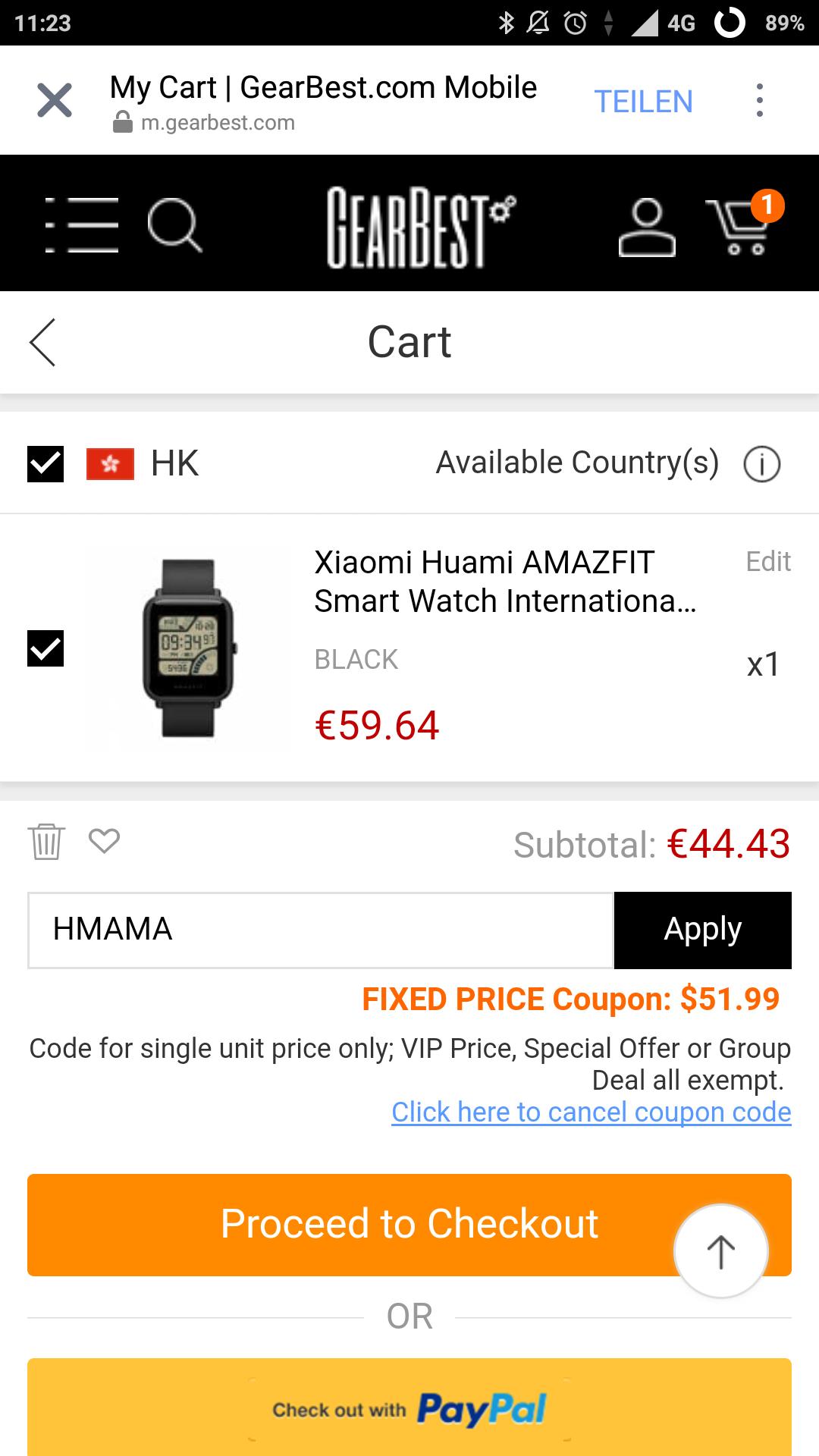 Xiaomi Amazfit BIP international Version bei GB für 45,70