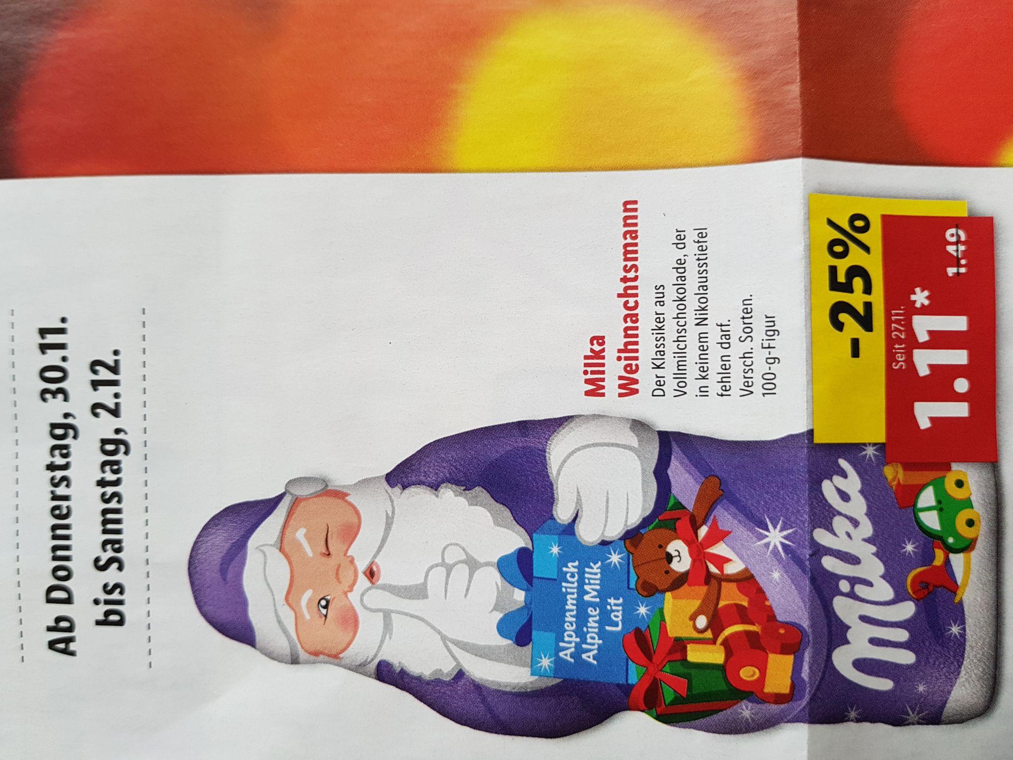 Milka Weihnachtsmann 100g bei Lidl und Rewe für 1.11€