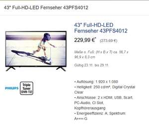 [Metro] PHILIPS 43PFS4012/12 (Flat, 43 Zoll, Full-HD, LED TV)