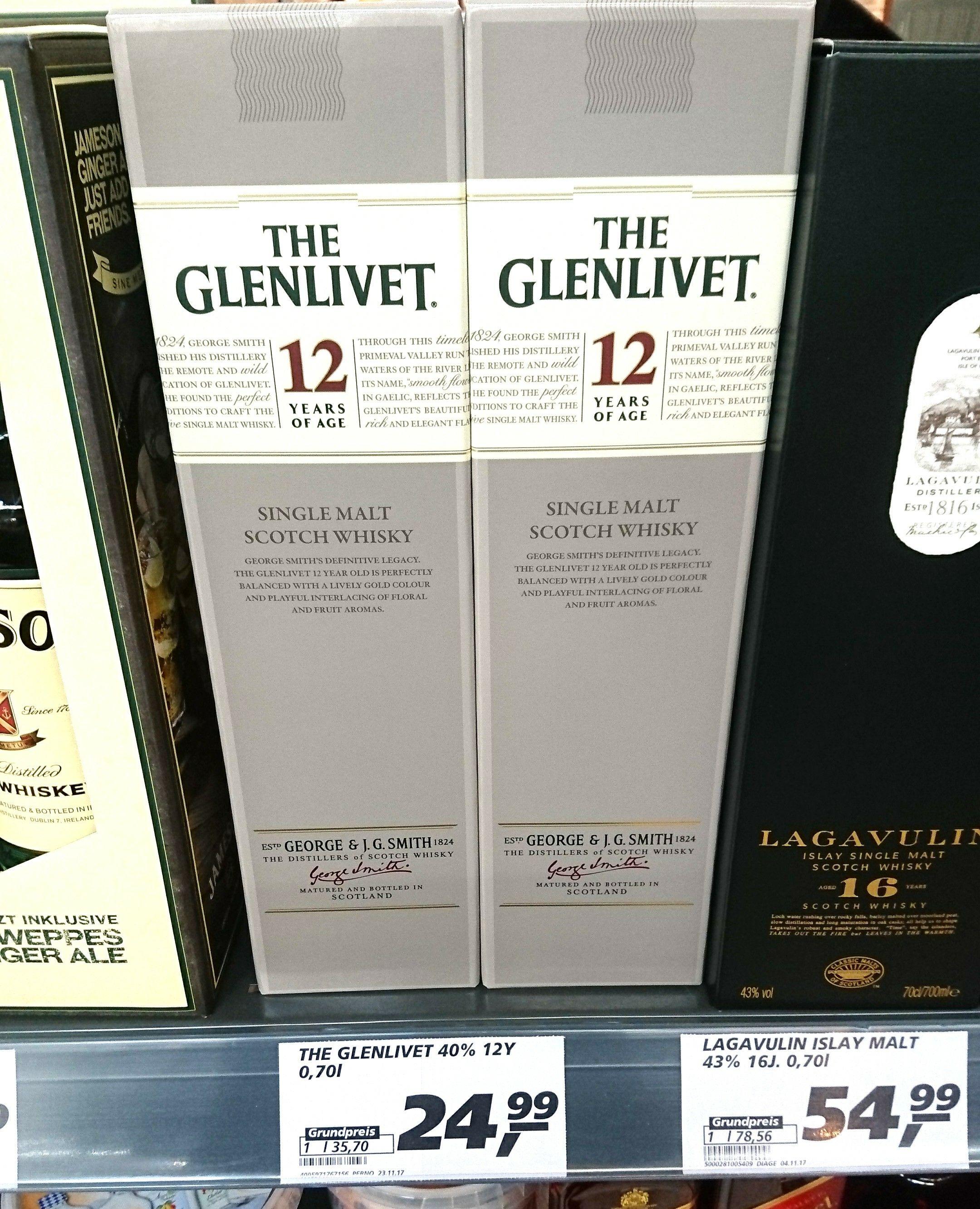 Glenlivet 12 Jahre Single Malt Whisky noch erhältlich bei Real (Coesfeld) für 24,99€