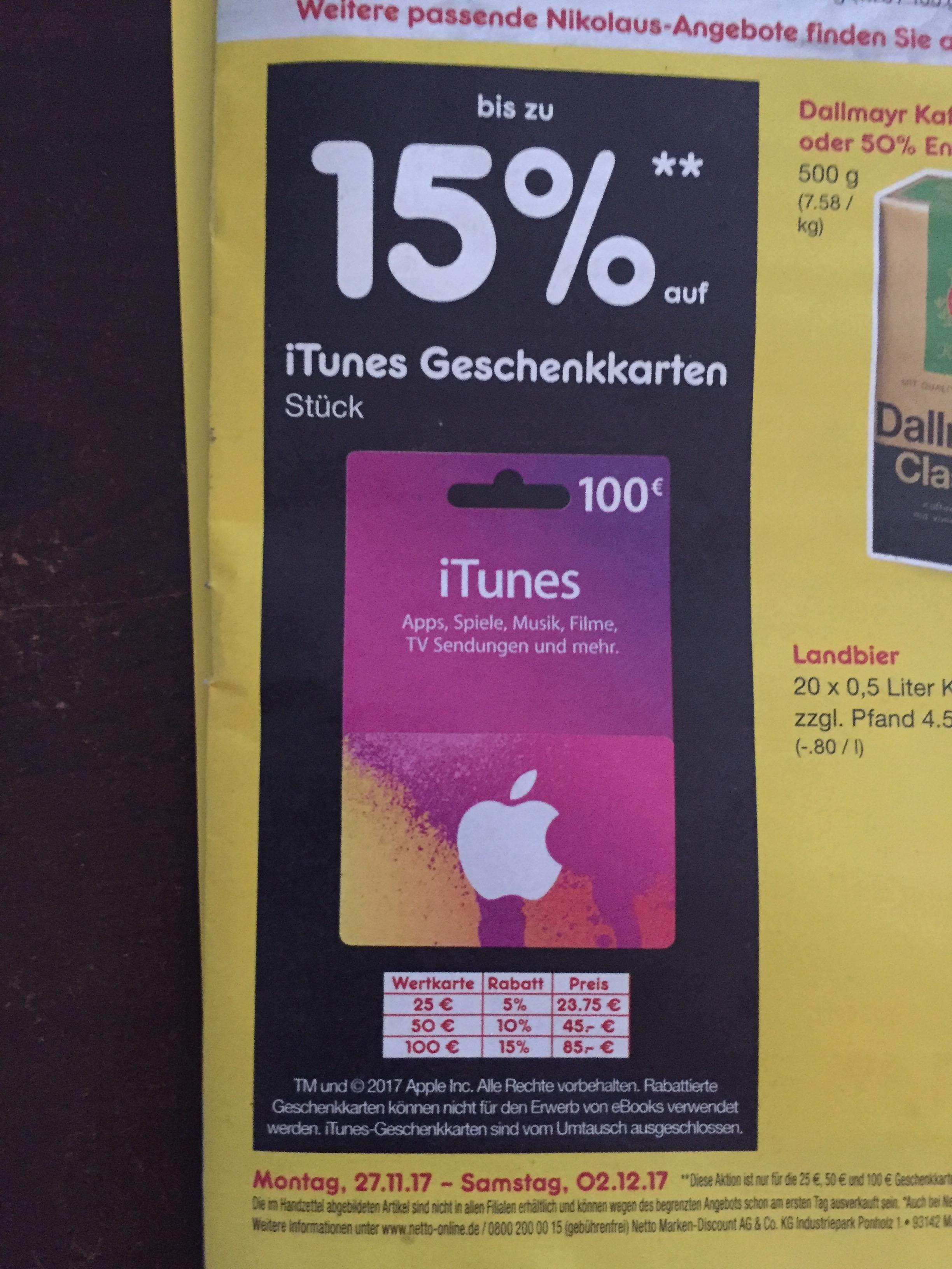 iTunes Guthabenkarten mit bis zu 15% echtem Rabatt (KEIN Extraguthaben) Bundesweit bei NETTO (gelb-rot)
