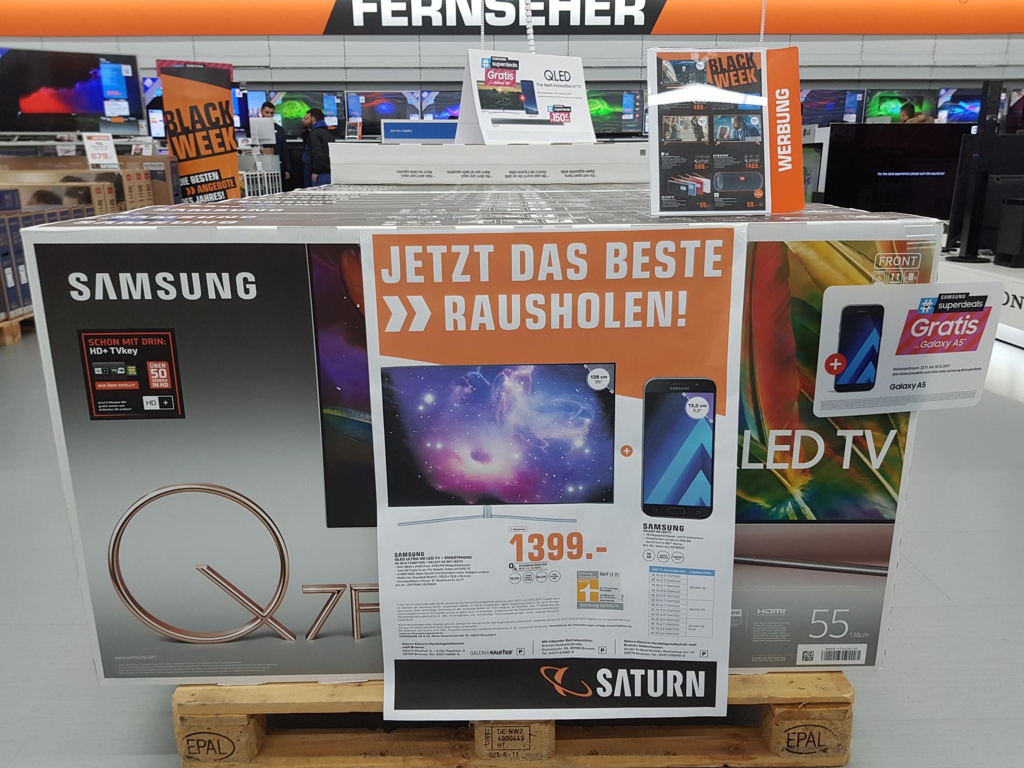 Region Bremen Samsung 55Zoll TV QE55Q7F inkl. Samsung Galaxy A5