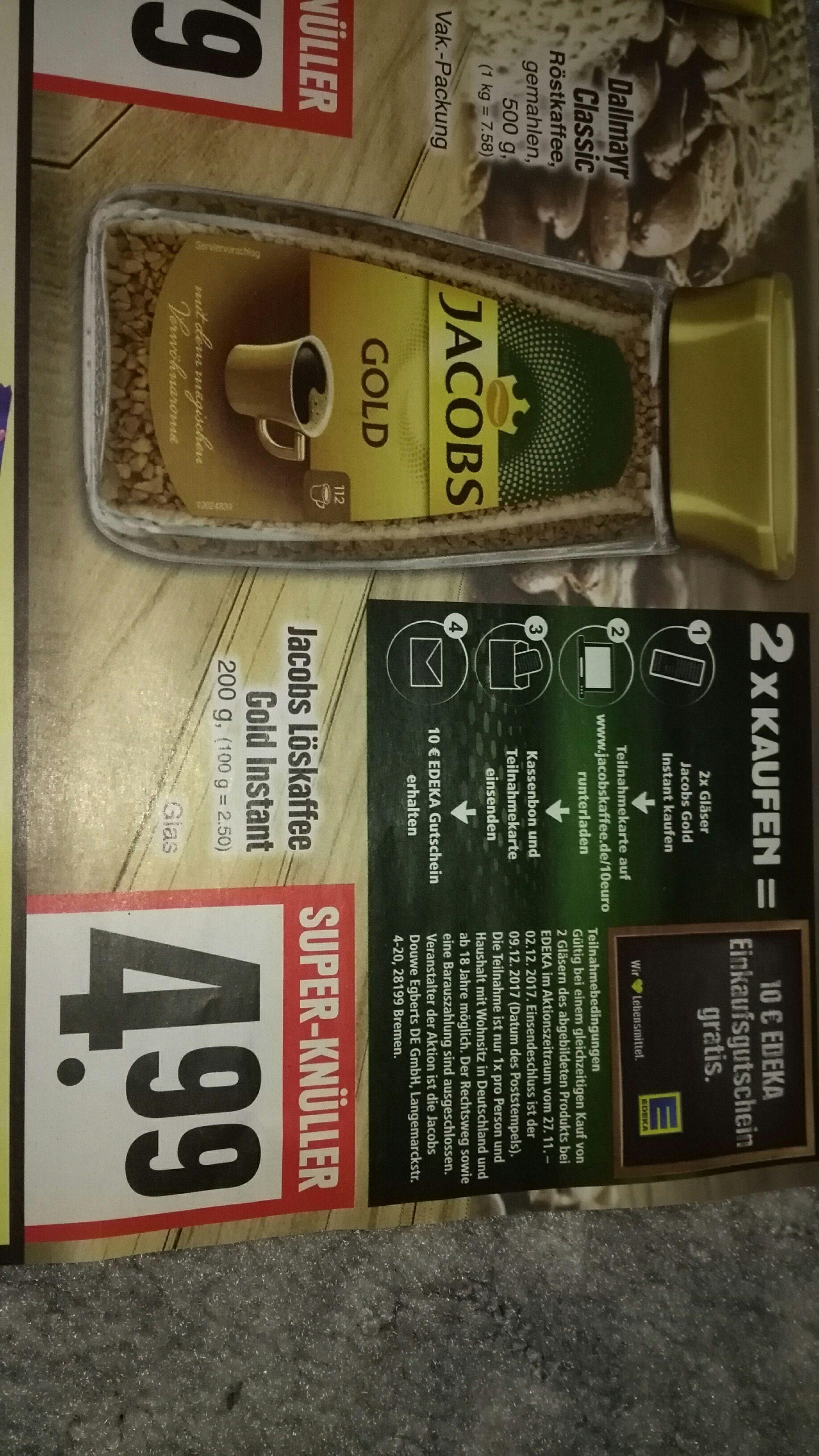 2 x Jacobs Gold Instant kaufen und einen 10€ Edeka Gutschein bekommen bundesweit