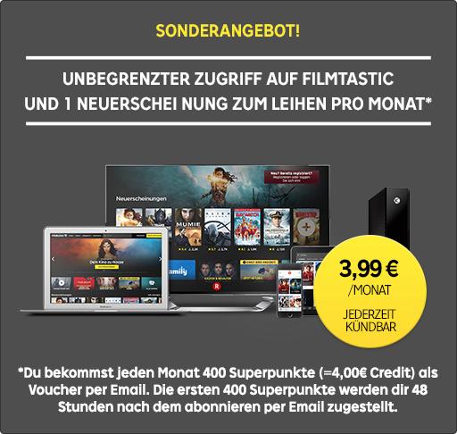 Rakuten TV Filmtastic inkl. 400 Superpunkten (= 4,00€ bei Rakuten TV) im Monat // 19,90€ im Jahresabo