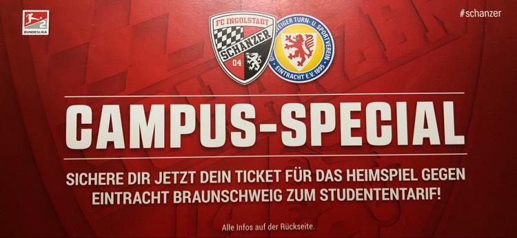 FC Ingolstadt - Eintracht Braunschweig Steher 5€, Sitzplatz 10€