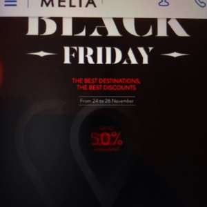Blackfriday - Meliahotels 50% +5000 Punkte