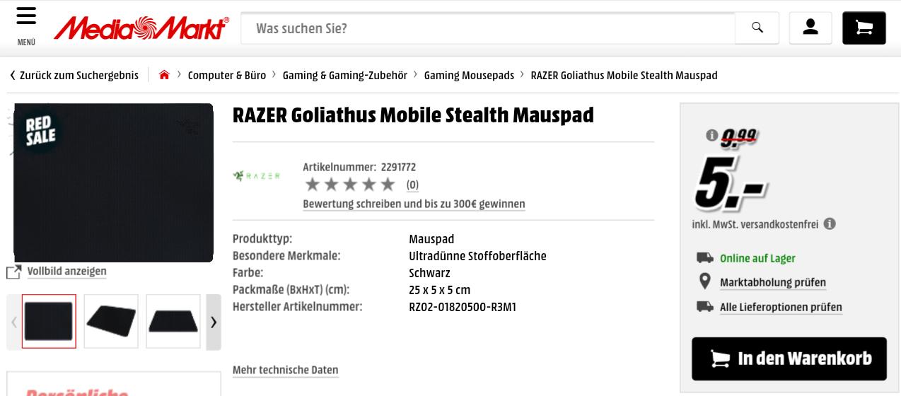 [Media Markt] RAZER Goliathus Mobile Stealth Mauspad