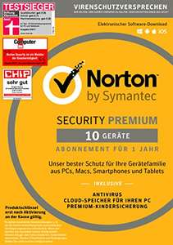 Norton Security Premium Antivirus Software 2018 10 Geräte 1 Jahr bei AMAZON