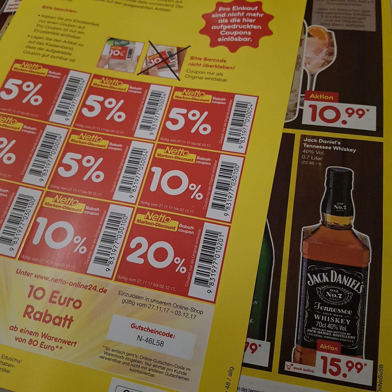 [Netto MD] Jack Daniels Whiskey 0,7l für 12,79€ MIT AUFKLEBER bei Netto MD (ohne Hund)