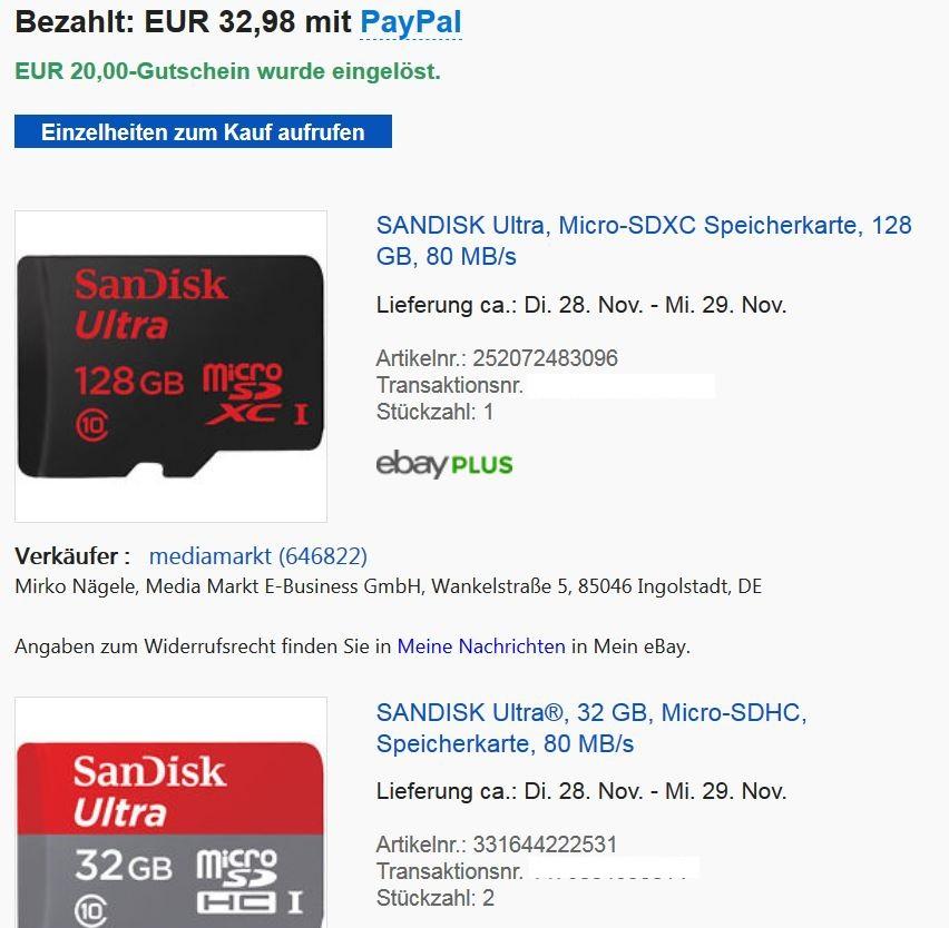 [ebay Plus] Micro SD Karte 1x128GB + 2x32GB San Disk (80 MB/s)