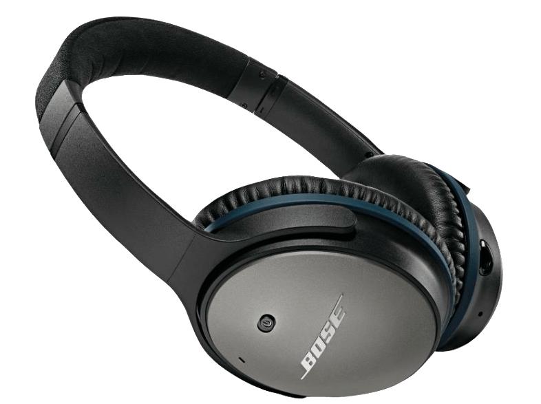 Saturn: BOSE QuietComfort 25, Over-ear Kopfhörer, geschlossen, kabelgebunden, 1.42 m Kabel, Schwarz/Blau