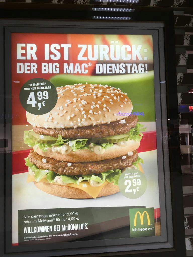 Bic Mac Dienstag für 2,99/Einzeln ; 4,99/Menü (Lokal???/Wiesbaden)