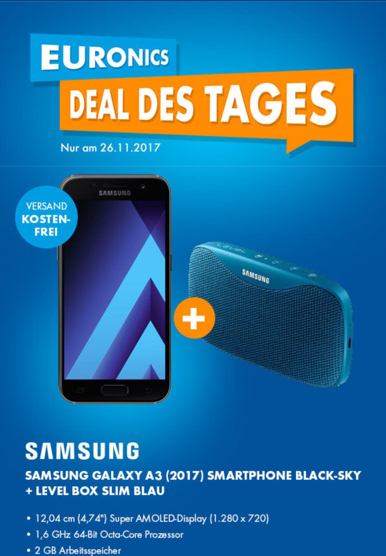 [Euronics] Galaxy A3 (2017) Smartphone + Samsung Level Box Slim blau