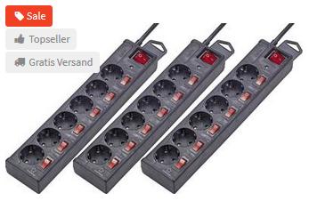 [Voelkner] 3er Set Überspannungsschutz-Steckdosenleiste 6fach - einzeln schaltbar (schwarz)