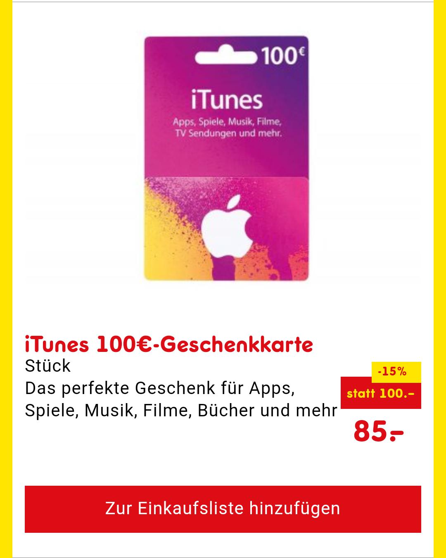 (Netto) iTunes Guthaben (15%) geschenkt bei 100€ Wertkarte