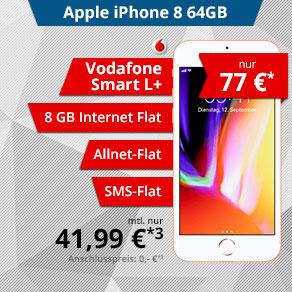 Apple iPhone 8 64GB für 77€ Zuzahlung mit Vodafone Smart L+ (41,99/Monat) - 8 GB LTE / Allen / SMS / EU
