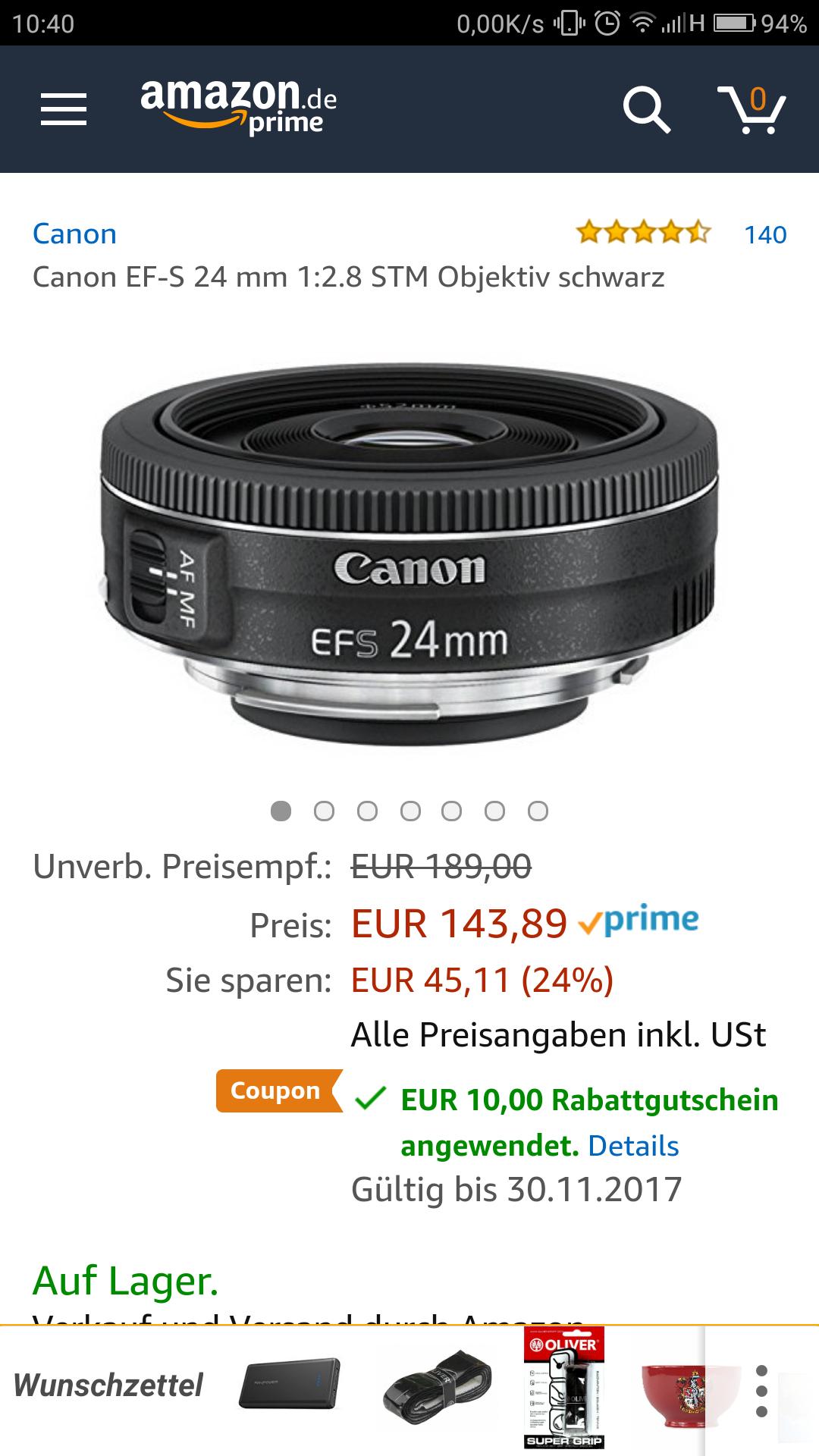 Amazon - Canon EF-S 24mm Festbrennweite für APSC-Sensoren Spiegelreflexkameras
