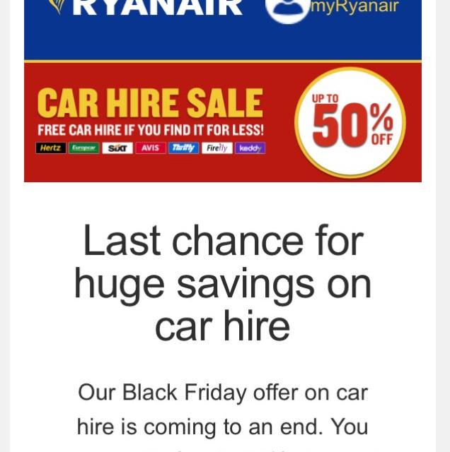 Bis zu 50% Rabatt aufs Automieten bei Ryanair
