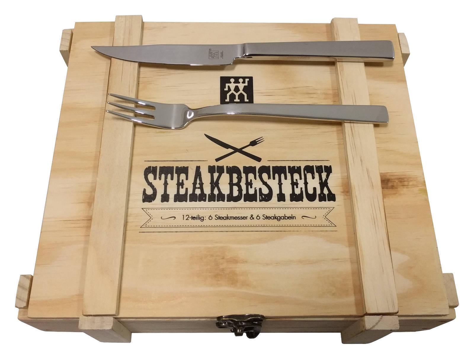 2 x Zwilling Steakbesteckset 12-teilig im praktischem Holzetui bei eBay WOW (Plus) für 37,80 € (18,90 € pro Kasten)