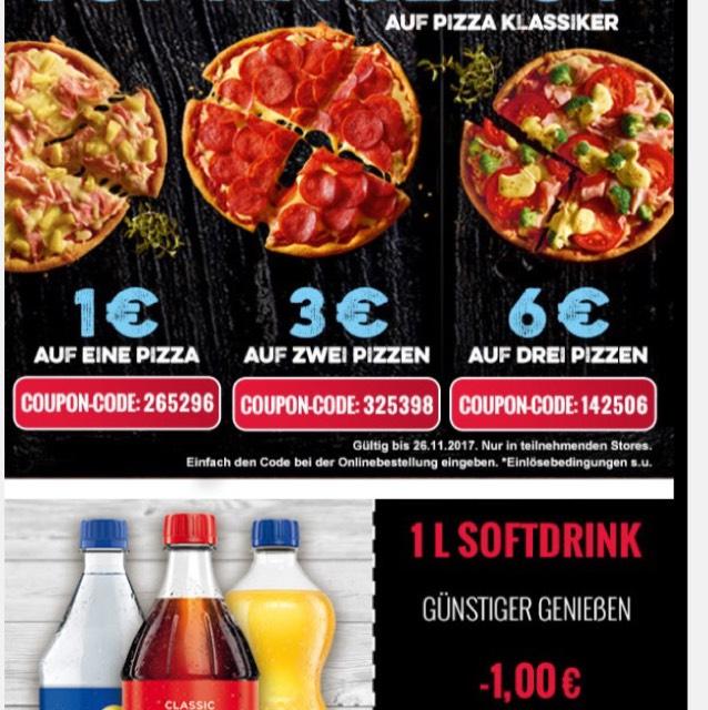 Domino's pizza mit 1-6€ Rabatt in ausgewählten Stores