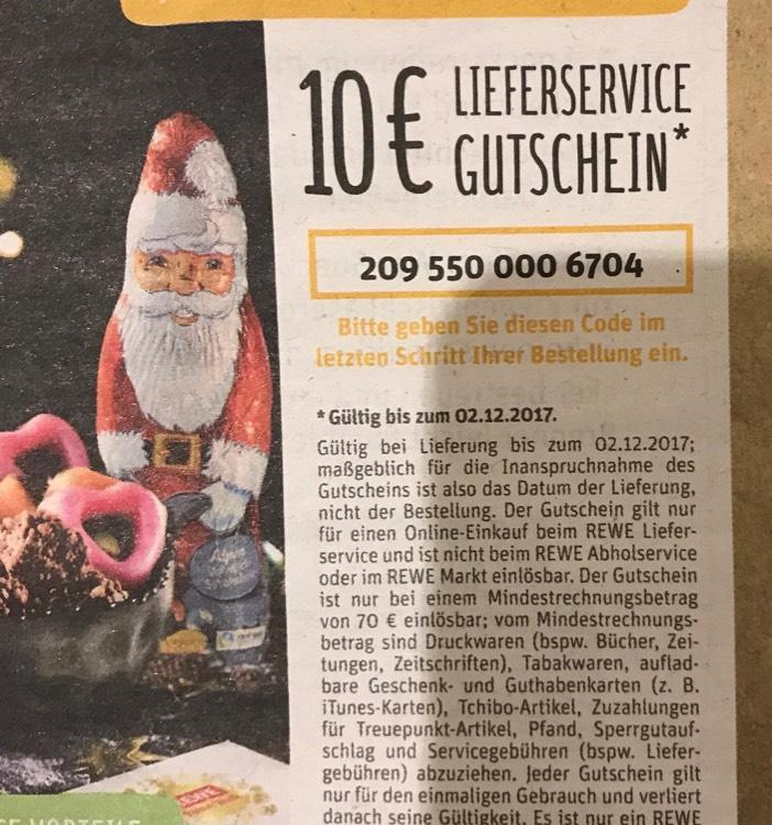10 Euro Rewe Lieferservice Gutschein | 70 Euro MBW