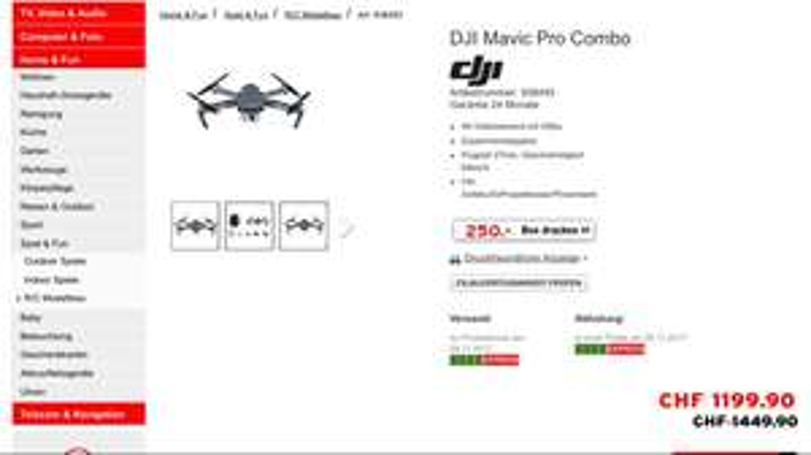 Schweiz: DJI Mavic Pro Combo (Schweiz: Interdiscount)