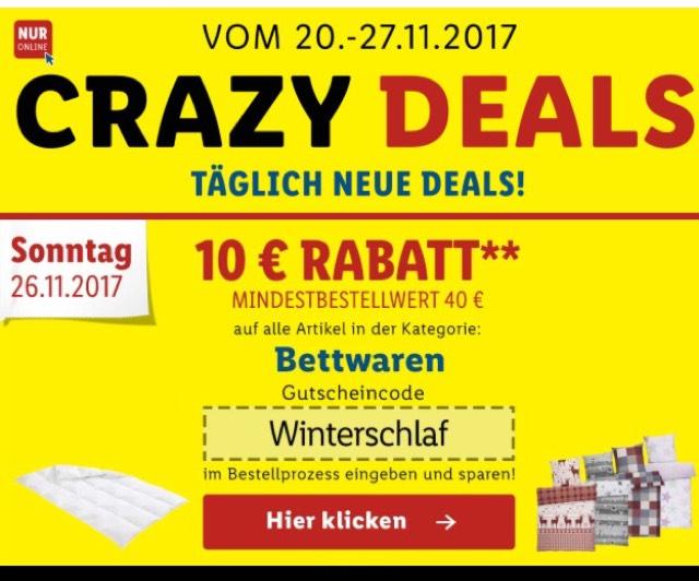 Bettwaren bei Lidl mit 10€ reduziert MBW 40€ (Versandkosten 4,95€)