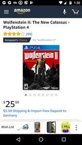 (PS4) Wolfenstein II: The New Colossus (USA Version) bei Amazon US
