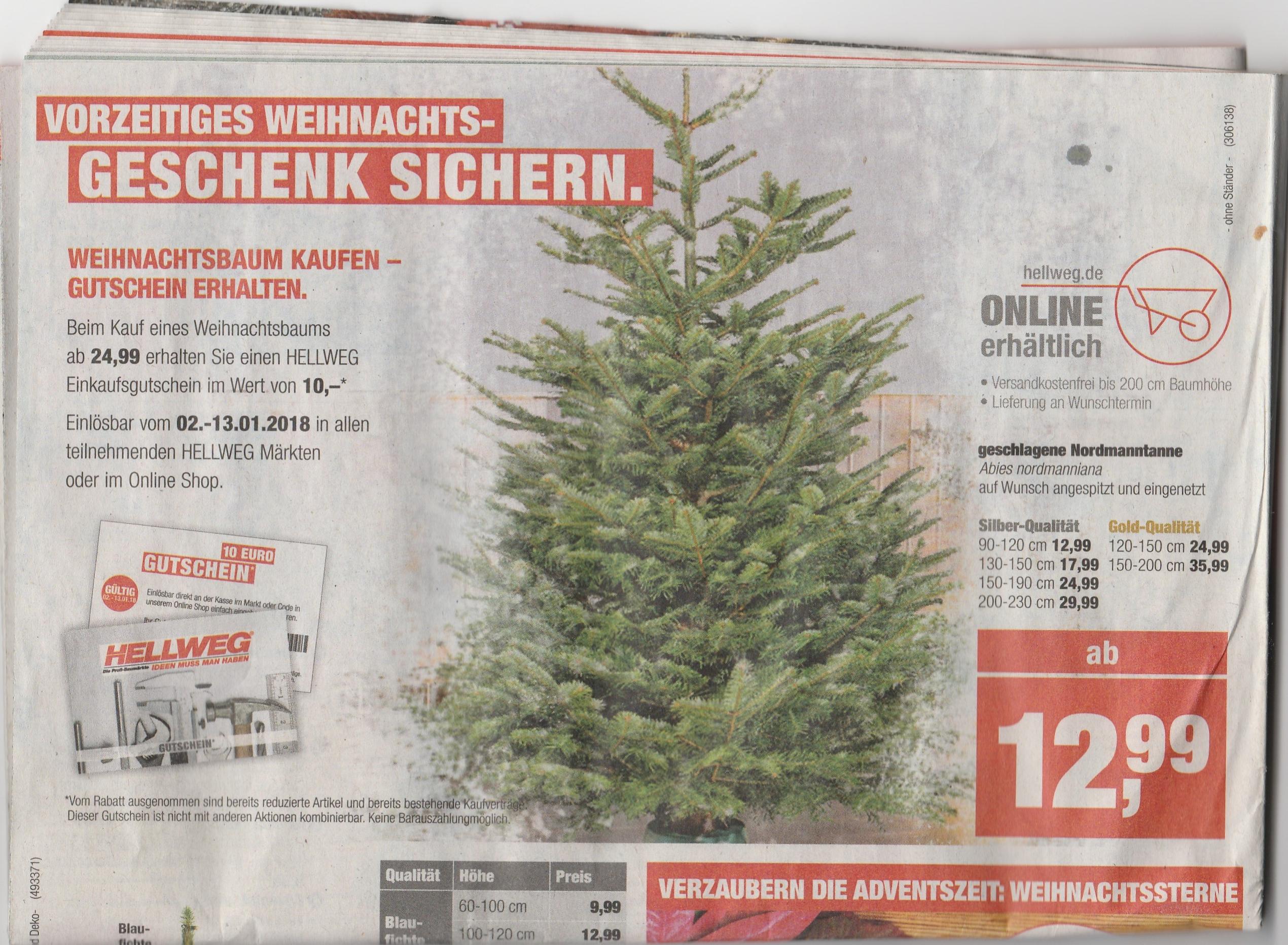 150-190 cm Nordmanntanne (inkl. Vsk und Wunschtermin) im Hellweg direkt oder online kaufen und 10 Euro Hellweg(on/offline nutzbar) Wertgutschein erhalten