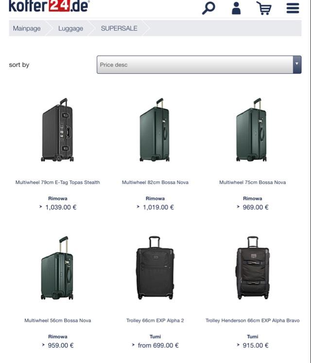 Koffer24 mit 30% Rabatt auf bestimmte Koffer - auch RIMOWA
