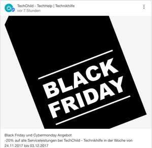 -20% auf alle Serviceleistungen bei TechChild - Technikhilfe | Techhelp [Black Friday][Cyber Monday][Lokal]