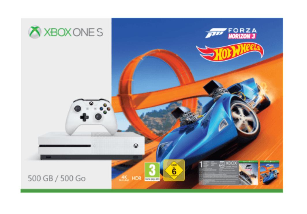 Nur noch Marktreservierung möglich. Kein Versand. MICROSOFT Xbox One S 500GB Konsole - Forza Horizon 3 + Hot Wheels Bundle bei Saturn