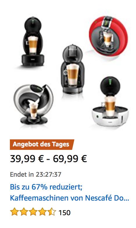 [Amazon.de] Dolce Gusto Kaffeemaschinen z.B. Circolo, Mini Me, Eclipse