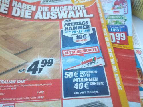 toom Gutschein Karte 50€ für 40€ Freitag