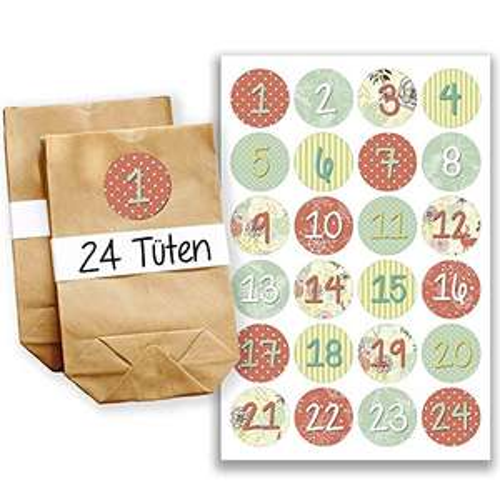 DIY Adventskalender (24 Tütchen + 24 Zahlenaufkleber)